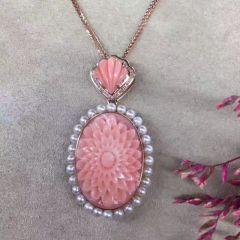 珊瑚天然深水粉珊瑚吊坠 精美花雕裸石 18k金镶嵌 搭配天然南非钻  钻石39顆 主石重:20克拉