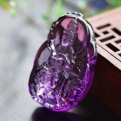斯里兰卡佛牙寺开光原矿紫晶文殊菩萨 龙8国际备用官网 尺寸:51mm、34mm、21mm 重量:44g