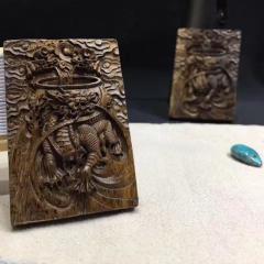 印尼野生沉香 麒麟 龍雕刻牌 長6cmX寬4cmx厚1cm