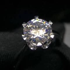莫桑钻石戒指 18k金镶嵌天然足反钻  超多火彩 总重:3.66克 裸石:1.75克拉