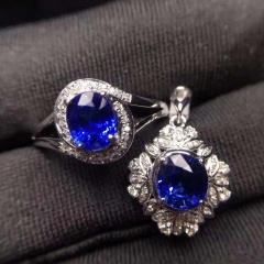 斯里蘭卡原礦 天然極品藍寶石套裝 18K金配鉆石鑲嵌 戒指+ 吊墜