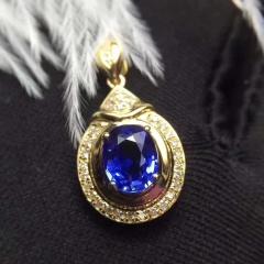 斯里兰卡原矿 天然蓝宝石吊坠18K金镶+南非钻石 裸石:1.35克拉 总重:1.73克 钻石:35颗