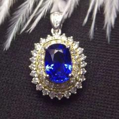 斯里兰卡 天然蓝宝石吊坠18K金镶+南非钻石 裸石:1.15克拉 总重:1.57克 钻石:49颗