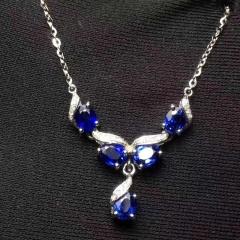 18k蓝宝石锁骨链 总重量:3.25g  蓝宝石:1.7ct  钻石:23颗