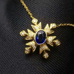 18k蓝宝石锁骨链 总重量:1.81g  蓝宝石:0.295ct  钻石:24颗