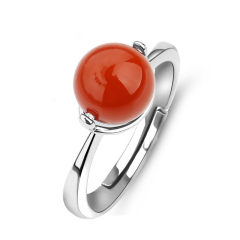 凉山南红玛瑙戒指女款925银镶嵌南红宝石戒指开口指环饰品