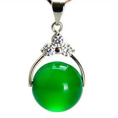 天然水晶红绿玛瑙玉髓转运珠纯银饰龙8国际备用官网男女路路通s925银项链 绿色款