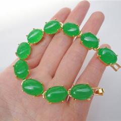 马来玉手链 祖母绿翠玉绿色手链/合金镶嵌手链 时尚女款首饰