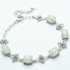 天然玉石 925银镶嵌和田玉手链 白玉蛋面手链女士饰品附证书