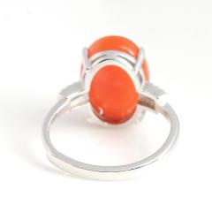 925银镶嵌天然南红联合了樱桃红玛瑙蛋面戒指 正品女款水晶饰品手饰指环