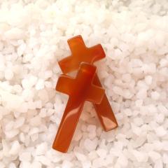 天然玛瑙十字架项链男款 基督天主教耶稣吊坠 十字架吊坠玉石挂坠 小款