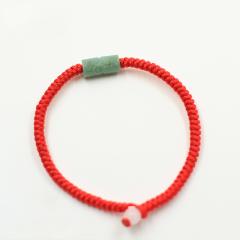 红绳手链男女士情侣款简约手串手工编织翡翠玉石路路通转运珠手绳
