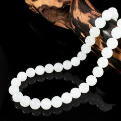 和田玉项链白玉项链白玉圆珠项链昆仑白玉项链女款项链手链手串 带证书 珠子直径 6mm