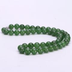 和田玉碧玉项链女款玉项链天然A货正品玉石珠链带证书珠宝 珠子直径 6mm