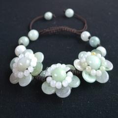 翡翠太阳花手链缅甸a货带证书女款手工编织淡绿玉石翡翠花朵手链