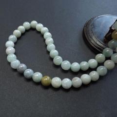 天然A货缅甸翡翠圆珠项链 特价玉石男款圆珠手链 俏色糯种珠链