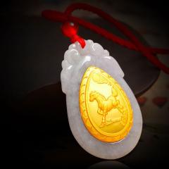 翡翠 十二生肖黄金镶玉水滴形吊坠 男女项链 生肖鼠