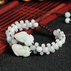 手串天然A货玉石珠子编织翡翠貔貅手链 正品缅甸玉器女款手链