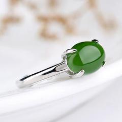 和田玉戒指女款925纯银镶嵌碧玉宝石戒指女开口简约时尚饰品