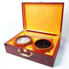 马达加斯加巴西玛瑙玉髓围棋白冰透底质量配实木礼盒收藏品