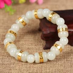 金镶玉转运珠 足金 和田白玉手链黄金 手链 女款 手串 白色配珠