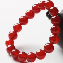红玛瑙手链男女士款天然佛珠开光本命年手串情侣水晶转运辟邪饰品 直径6mm 单圈