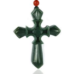 和田玉龙8国际备用官网青玉十字架耶稣玉石挂件玉器玉坠男女款礼物