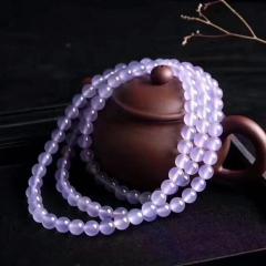 紫罗兰玉髓圆珠手链 天然玉石108颗多圈手串 6mm