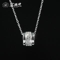客瑞思S925纯银个性幸运轮女士项链学生简约韩版短款锁骨链时尚百搭银饰吊坠女送女友生日礼物
