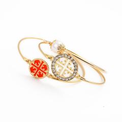 手镯 女学生简约甜美饰品 三件套气质百搭珍珠宝石镶嵌花纹手镯 橘色 其他