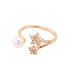 珍珠镶钻大小五角星时尚夸张关节戒指韩版饰品食指开口指环尾戒潮