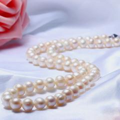 天然淡水珍珠项链强光饱满送妈妈婆婆长辈母亲节礼物正品特价 白色 9-10mm 48cm