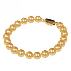 天然海水珍珠手链优质南洋金色珍珠正圆天然海水链手饰送女友妈妈 金珠 8-9mm 19cm
