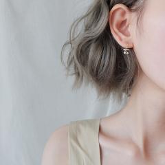 樱桃耳环韩国s925纯银气质珍珠耳钉女个性小耳坠精致耳饰百搭迷你 925银樱桃银色 其他