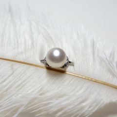 珠宝首饰 8.5-9mm 极光无瑕大颗 天然淡水珍珠戒指 925银女 白色(活扣) 8.5-9mm