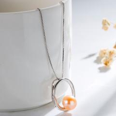 新款S925纯银淡水珍珠项链气质珍珠吊坠优雅百搭闺蜜礼物 粉红色 7.5-8mm 24.5cm