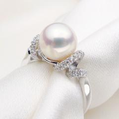925纯银AAAAA极强光8-9mm正圆天然珍珠戒指女正品珠宝级 12号 其他
