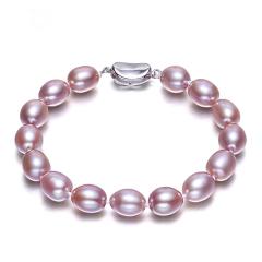 特价7-8-9mm 紫粉色精选无瑕极亮光天然珍珠手链 正品 送妈妈 粉色无瑕精选珠 7-8mm 20