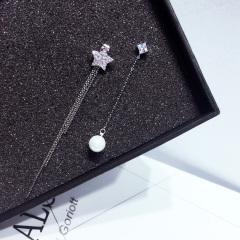 韩国气质925纯银针耳钉不对称长款仿珍珠星星耳环女耳坠百搭耳饰 银色 其他