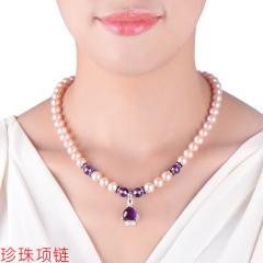 珍珠项链民族风送妈妈淡水紫粉色强光近圆形近无暇女款锁骨链套装 珍珠项链 8-9mm 45cm