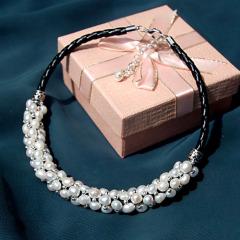天然珍珠项链锁骨链毛衣链短款女配饰品欧美百搭时尚夸张颈链 项链