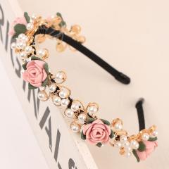 韩版卡子花朵珍珠头花女神清新花环新娘头饰头箍发夹头饰发箍发饰 特美现货