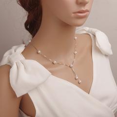 满天星天然淡水珍珠项链双流苏吊坠 近圆无瑕强光纯银防过敏正品 金桔色系 43cm