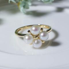 18k金镶嵌日本Akoya天然海水珍珠 四珠戒指 乳白色 4.5-5mm