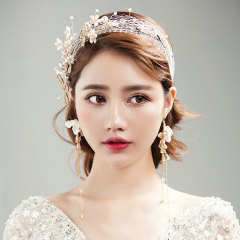 新款新娘結婚日韓網紗串珠發帶頭飾長耳環套裝婚禮婚紗造型配飾品 現貨(發帶+耳環套裝) 耳夾款