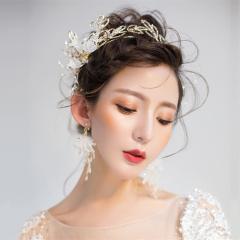 新款新娘结婚唯美花朵造型发箍耳环两件套时尚晚会舞台写真发饰品 金色 发箍+耳环套装