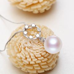 天然淡水珍珠吊坠项链百搭星星款锁骨链S925纯银链强光正品包邮 白色 8-9mm 40cm