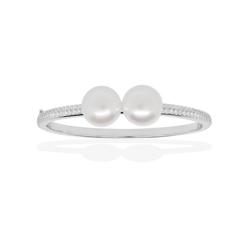 麦芽糖珠宝高端强货HERITAGE纯银镶晶钻复古珍珠手镯 S码自用选普通包装 12.5-13.5mm