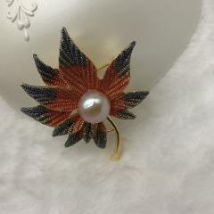 红枫9-10mm半圆珍珠胸针精工工艺气质百搭新品热卖 白色 9-10mm