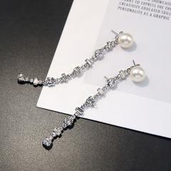 簡約氣質珍珠水鉆耳釘女長款百搭水晶流蘇耳墜耳環韓國防過 銀色
